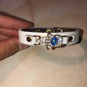 Hamsa Hand crystal & faux white leather Bracelet